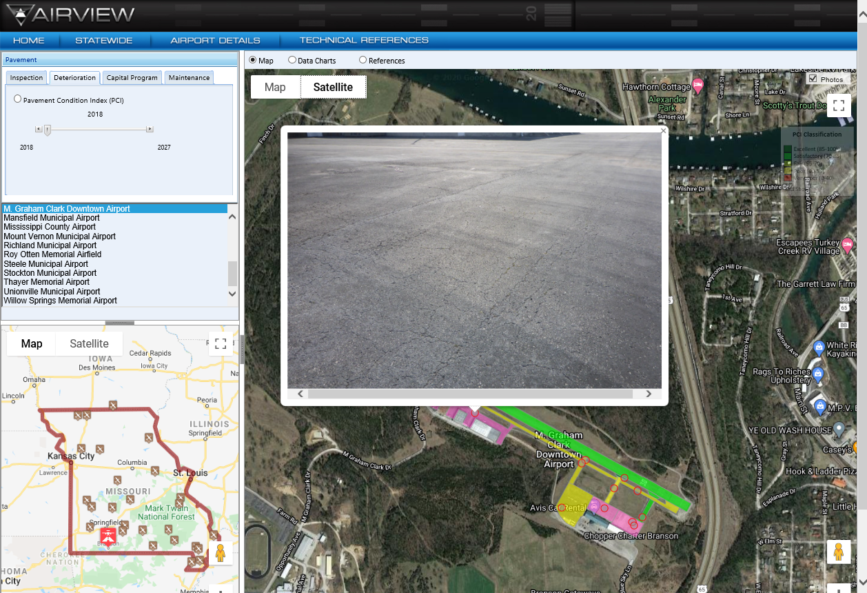 AirView Interactive GIS Pavement Management Application website thumbnail