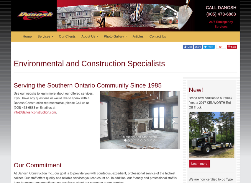 Danosh Construction website thumbnail