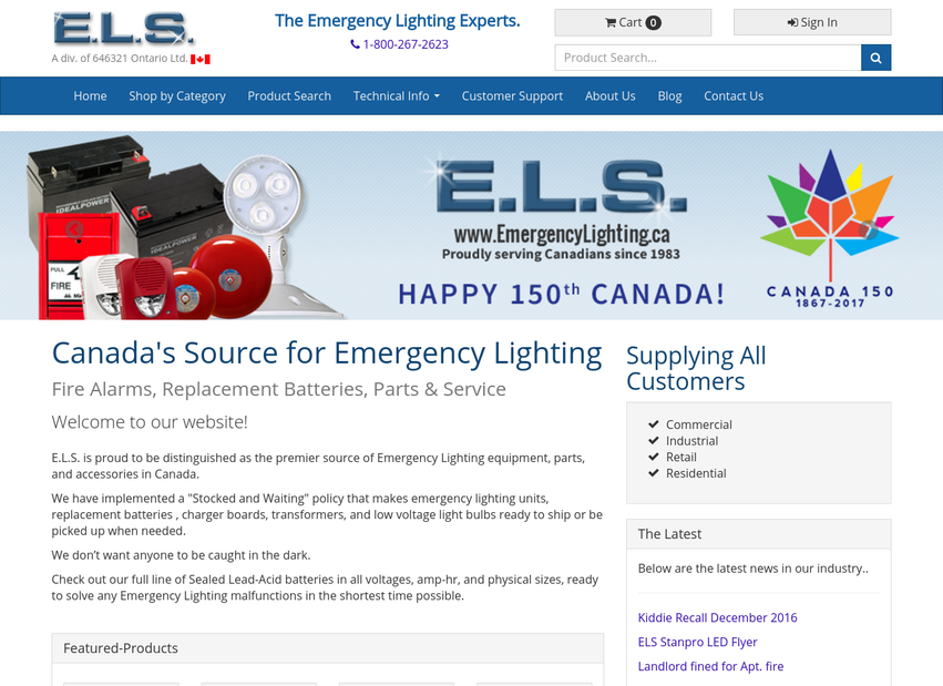 Emergency Lighting Service website thumbnail