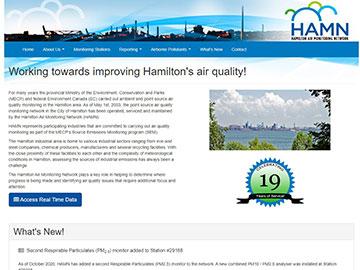 Hamilton Air Monitoring Network  website thumbnail