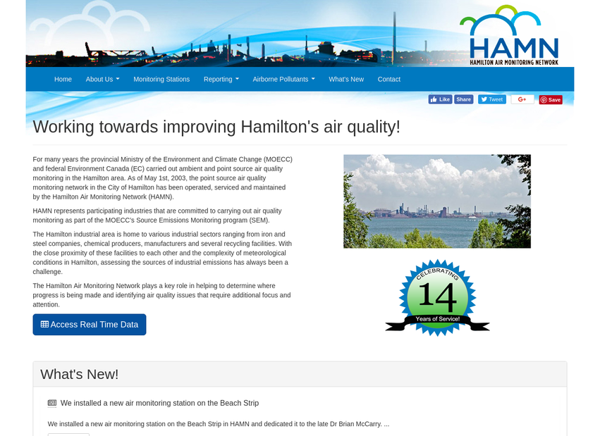 Hamilton Air Monitoring Network  website thumbnail