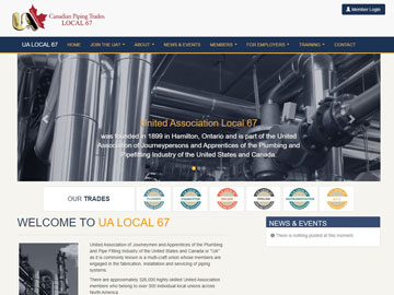 UA Local 67  website thumbnail